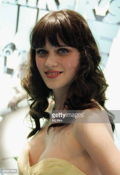 One of the Stars of the movie Zooey Deschanel arrives at the World Premiere of 'Hitchhiker's Guide To The Galaxy' at UCI Empire Leicester Square on...