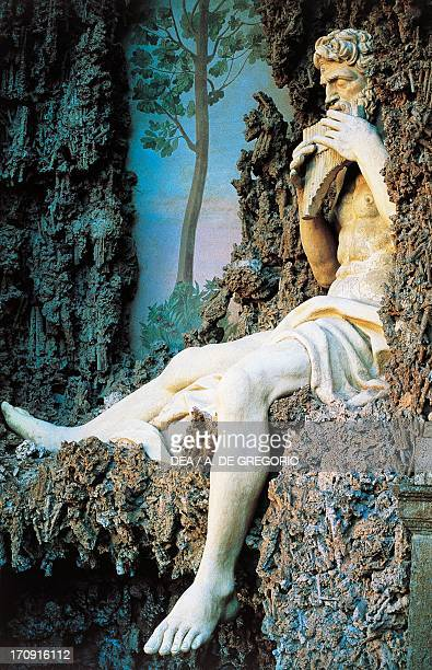 One of the statues in the Water Theatre, Villa Aldobrandini , Frascati, Lazio, Italy.