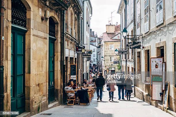 one of the streets of the beautiful santiago de compostela (la coruña, spain) - santiago de compostela stock pictures, royalty-free photos & images