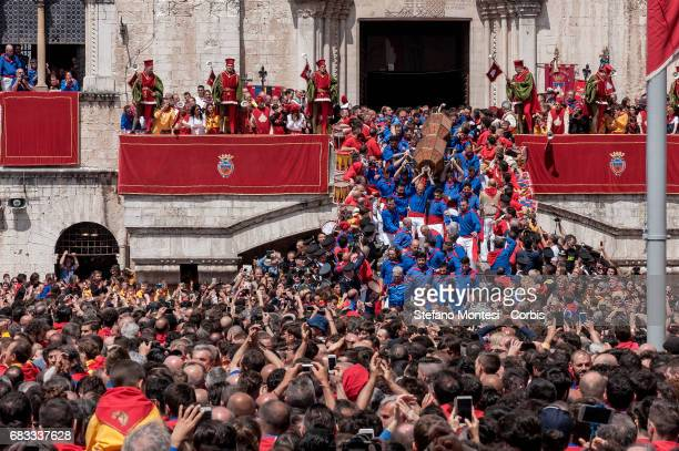 One of the three Ceri St Giorgio is carried into Piazza Grande prior the Alzata of the candles on May 15 2017 in Gubbio Italy Gubbio's Race of the...