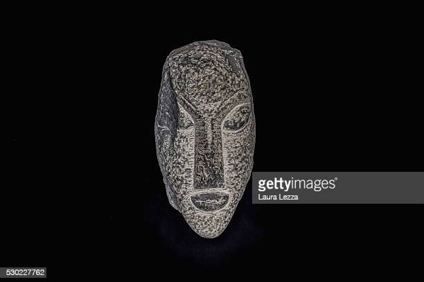 One of the three heads known as Testa Alpha that it is belived to be attributed to Amedeo Modigliani is displayed in a bank vault on May 10 2016 in...