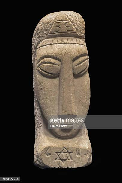 One of the three heads known as Testa Beta that it is belived to be attributed to Amedeo Modigliani is displayed in a bank vault on May 10 2016 in...