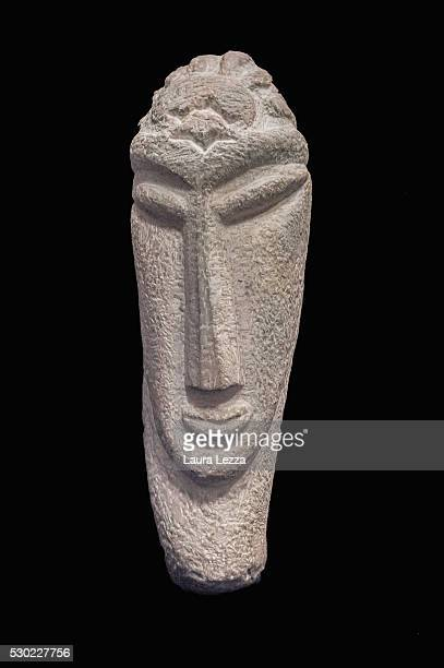One of the three heads known as Testa Gamma that it is belived to be attributed to Amedeo Modigliani is displayed in a bank vault on May 10 2016 in...