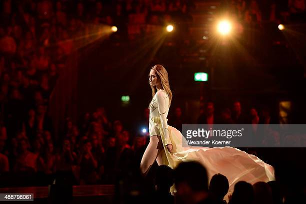 One of the three models Ivana Teklic is pictured during the final of Germany s Next Top Model TV show at Lanxess Arena on May 8 2014 in Cologne...