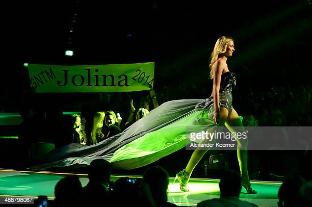 One of the three models Jolina Fust is pictured during the final of Germany s Next Top Model TV show at Lanxess Arena on May 8 2014 in Cologne...