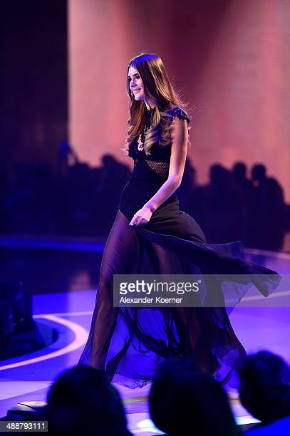 One of the three models Stefanie Giesinger is pictured during the final of Germany's Next Top Model TV show at Lanxess Arena on May 8 2014 in Cologne...