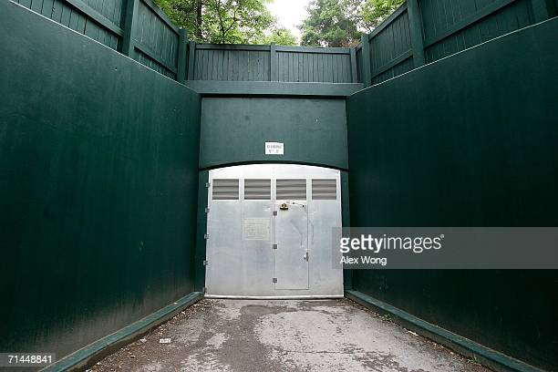 One of the three outside entrances of a former government relocation facility also know as the bunker is seen during a media tour at Greenbrier...