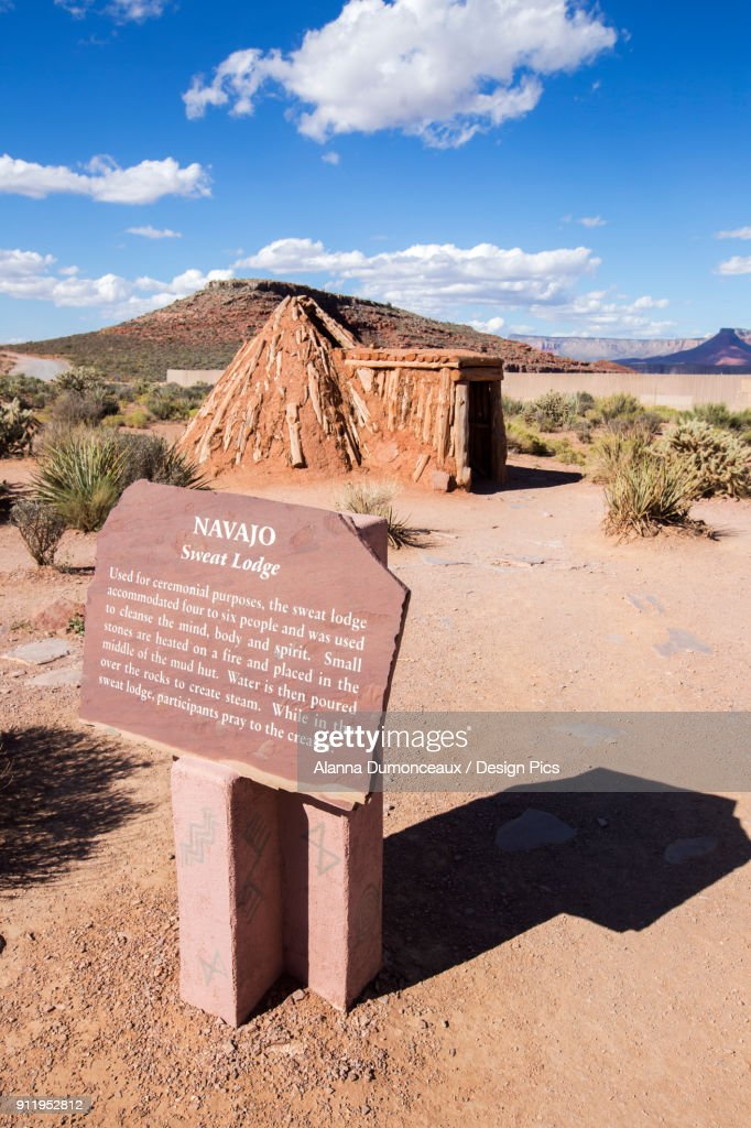One Of The Traditionally Built Native American Houses That Are Part Of The Village Display At Eagle Point At The West Grand Canyon : Stock Photo