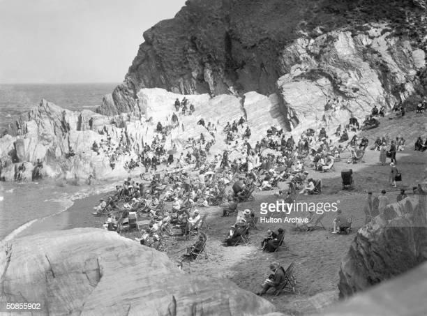 One of the Tunnel Beaches in Ilfracombe Devon circa 1935