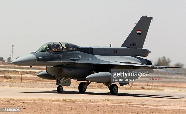 One of the two recently delivered F16 fighter jets from the US is seen on the tarmac at Iraq's Balad air base in the Salaheddin province north of the...
