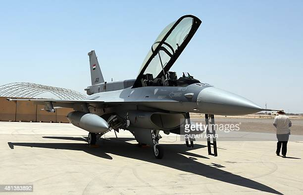 One of the two recently delivered F-16 fighter jets from the US is seen on the tarmac at Iraq's Balad air base in the Salaheddin province, north of...