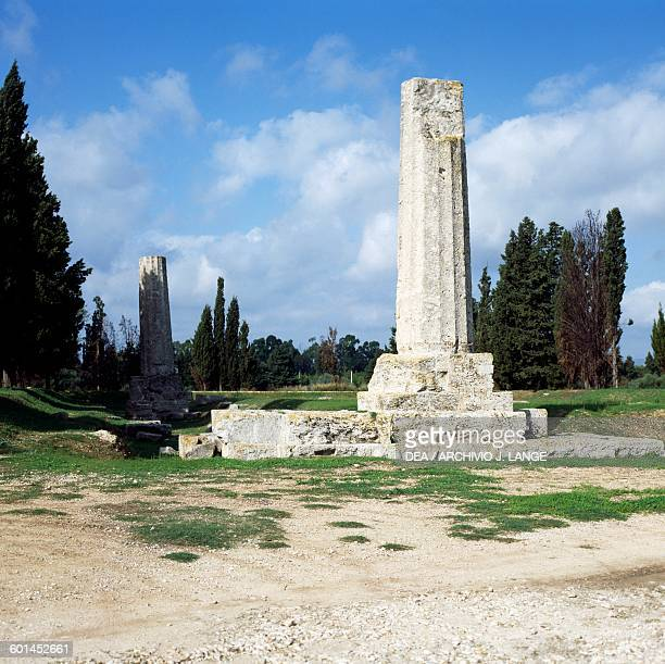 One of the two surviving columns of the Temple of Olympian Zeus Syracuse Sicily Italy Greek civilisation Magna Graecia 6th century BC