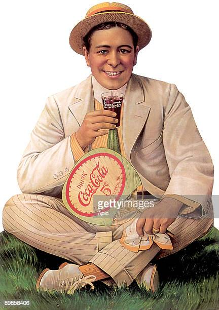 One of the very first advert for Coca Cola drink called Man on grass dated 1910
