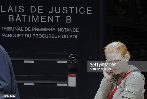 One of the victims of Belgian pedophile Marc Dutroux Laetitia Delhez calls outside the courthouse in the southeastern Belgian town of Arlon 21 June...