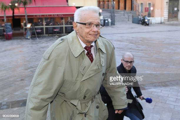 One of the victims Robert Vaux arrives at the courthouse in Nice southeastern France to attend the trial of Patricia Dagorn a woman suspected of...