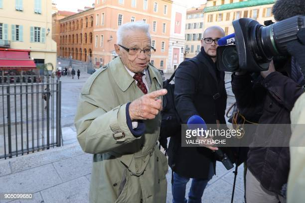 One of the victims Robert Vaux speaks to journalists as he arrives at the courthouse in Nice southeastern France to attend the trial of Patricia...