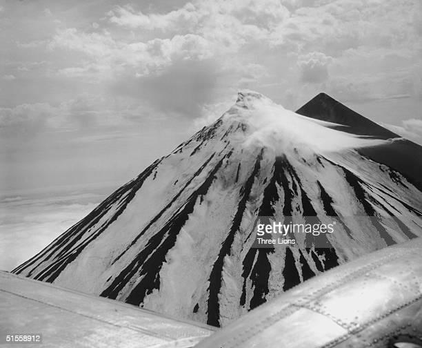 One of the volcanos in the Aleutian Islands of Alaska circa 1955