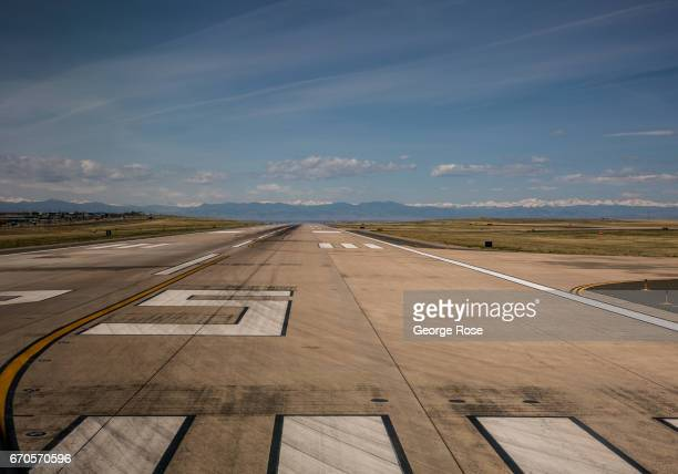 One of the westside airport runways is viewed at Denver International Airport on April 16 in Denver Colorado Located 25 miles from downtown Denver...