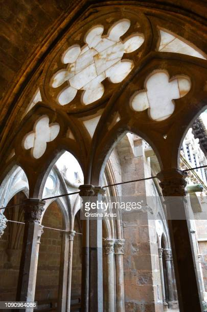 One of the windows of the cloister of the Cistercian monastery of Santa Maria de Veruela, made and with slender Gothic arches and apertures currently...