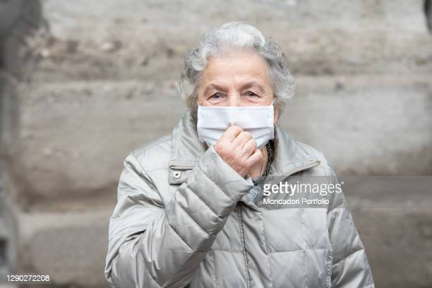 """One of the winners of the """"Ambrogino d'oro 2020"""" title Loredana Bulgarelli, ex deported to Auschwitz, arriving at Palazzo Marino to receive the..."""