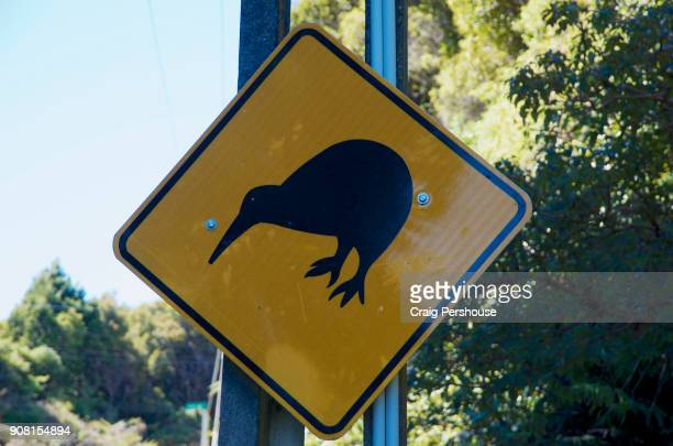 One of the world's most unusual road signs - 'Watch out for Kiwis'.