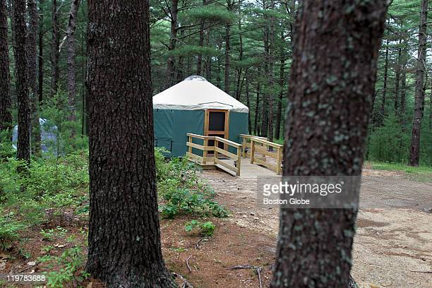 One of the yurts available for renting at the Myles Standish State Park