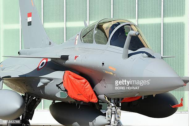 One of three French made Rafale fighter jets for Egypt air force is pictured at an air base in the southern France city of Istres on July 20 2015...