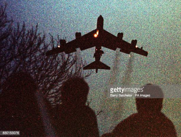 One of two B52 bombers flies from RAF Fairford in Gloucestershire under the cover of darkness A USAF spokesman would not give any details of the...