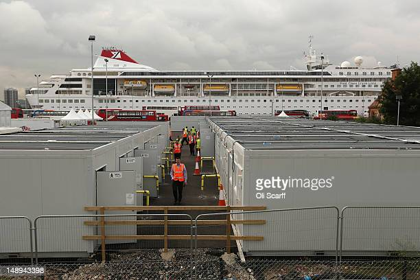 One of two cruise liners the Braemar is moored in the Royal Albert Dock to provide accommodation for thousands of Olympic workers on July 20 2012 in...