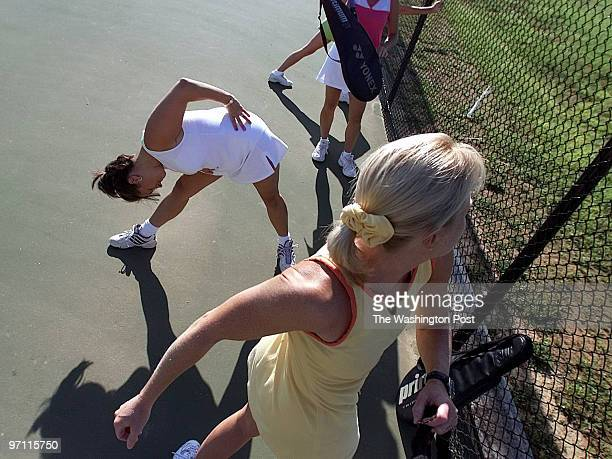 One of two ladies tennis teams from the Chestnut Forks Athletic Club practicing for the USTA National championship in Ocotber Practice is at Highland...