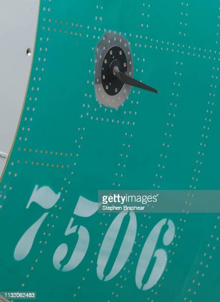 One of two sensors that measures the angle of attack is pictured on a Boeing 737 MAX 8 airplane outside the company's factory on March 22 2019 in...