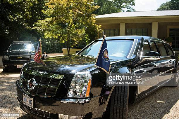 One of US President Barack Obama's armored limos is seen outside a home where he was fundraising for Democratic US Presidential candidate Hillary...