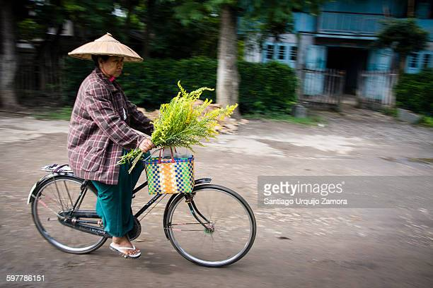 One old woman bycicling back from the market, Nyaungshwe, Inle Lake, Shan State, Myanmar
