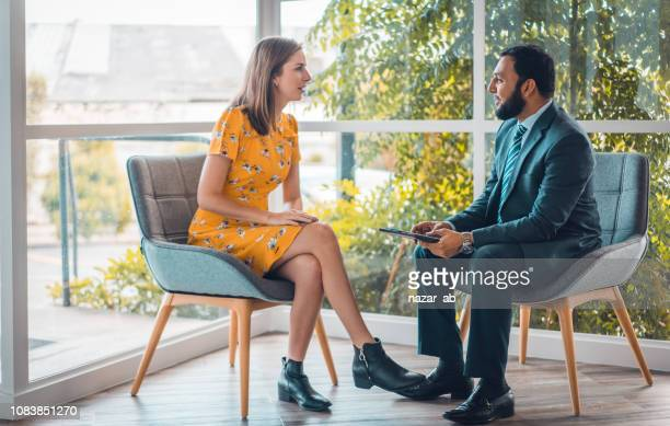 one on once business consultation. - job interview stock pictures, royalty-free photos & images