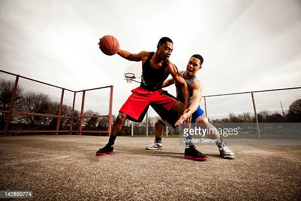 One on one basketball game.
