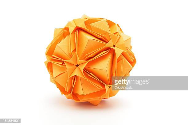 One orange origami polyhedron paper craft design