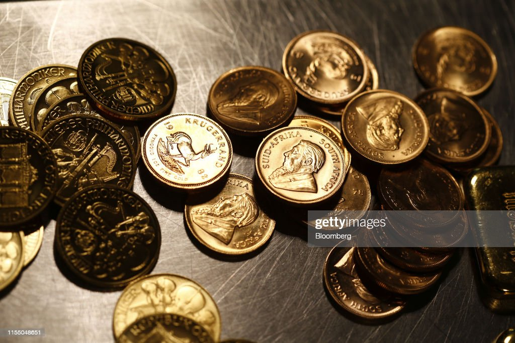 One Ounce Krugerrand Gold Coins Sit In