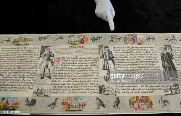 One part of the original Esther scroll is presented at the Gottfried Wilhelm Leibniz Library in Hanover, Germany, 24 February 2013. The Esther scroll...