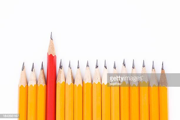 One pencil marking the difference between other pencils