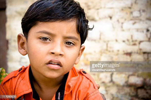 One Pensive Casual Little Indian Rural Boy