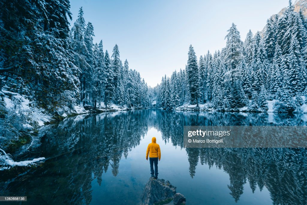 One person admiring a frost forest in the dolomites in winter, Italy : Stock Photo