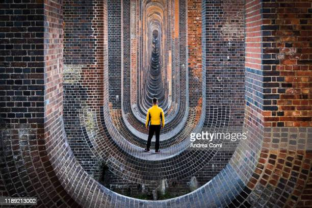 one person admiring the ouse valley viaduct, england - architecture stock pictures, royalty-free photos & images