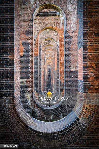 one person admiring the ouse valley viaduct, england - offbeat stock pictures, royalty-free photos & images