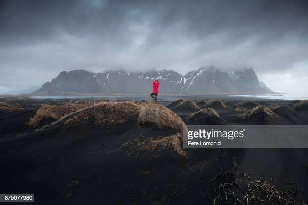 One person at Vestrahorn iceland