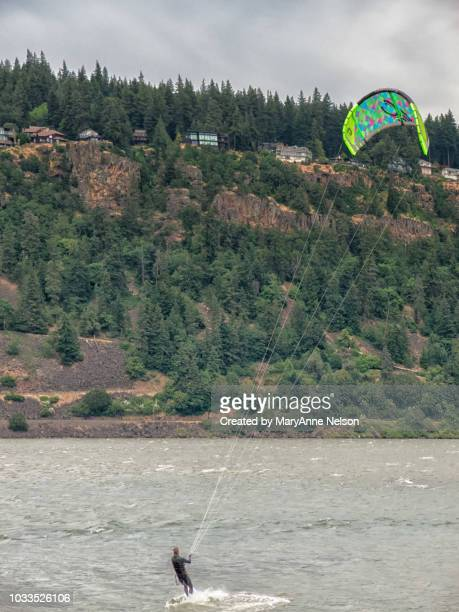 one person kite boarding - hood river stock pictures, royalty-free photos & images