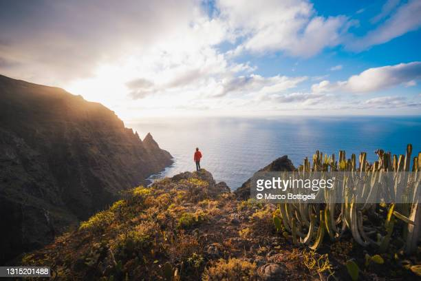 one person standing on a cliff in the anaga coast, tenerife, spain. - テネリフェ島 ストックフォトと画像