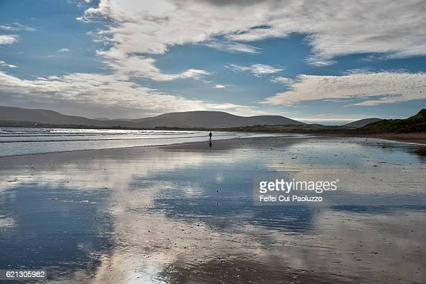 one person walking on the beach of waterville in ireland - low tide stock pictures, royalty-free photos & images