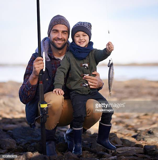 one point for me, none for dad - fish love stock photos and pictures