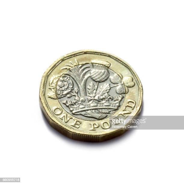 One pound coin newly minted and released in UK in 2017.
