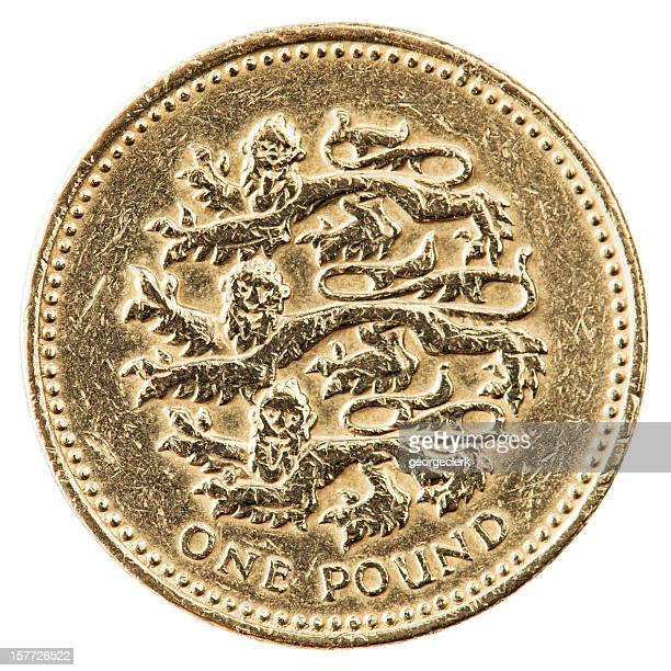 One Pound Coin With English Lions